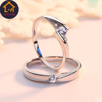 LOVE&HOME JZ-01 Zircon Diamond Lover Couple Rings (Silver) - 3