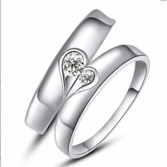 LOVE&HOME Lovely Sterling Silver with Zircon Stone Couple RingJZ-05