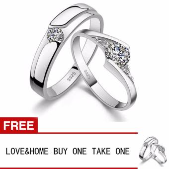 LOVE&HOME Romantic 925 Sterling Silver Zircon Diamond LoverCouple Rings Buy One Take One