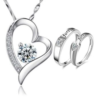 LOVE&HOME Silver Forever Love Heart Diamond Pendant Necklace WITH Adjustment Fashion Couple Ring