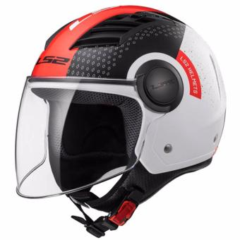 LS2 OF562 Condor Graphics Long Jet Helmet (Black/White/Red)