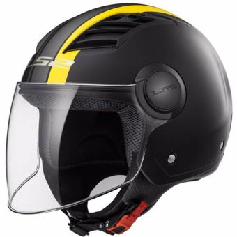 LS2 OF562 Metropolis Graphics Long Jet Helmet (MatteBlack/Yellow)