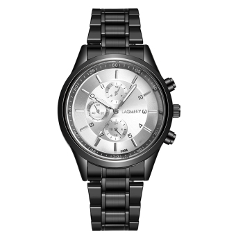 Luminous Stylish black steel ultra-thin watch waterproof watch