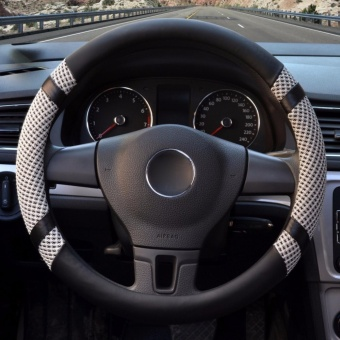 LUOWAN Car Steering Wheel Covers,Diameter 14 inch(35.5-36CM),PU Leather and Ice silk,for Seasons,gray-S