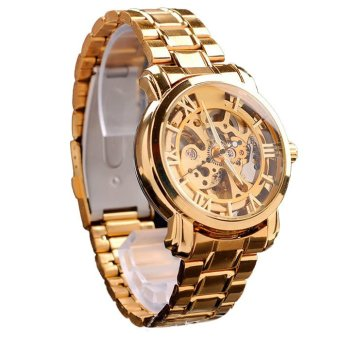 Luxury Automatic Mechanical Skeleton Men's Wrist Watch Gold