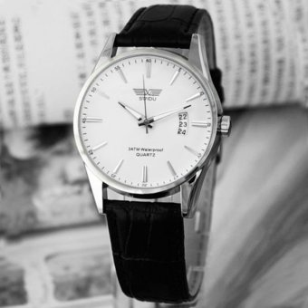 Luxury Black Leather Strap Calendar Quartz Mens Date Wrist WatchWhite