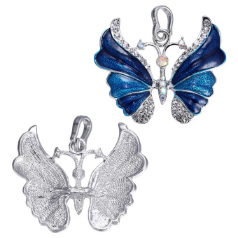 Luxury Elegant White Gold Electroplated Butterfly Pendant Fashion Rhinestone Wedding Jewelry Accessory Gift for Women (Intl)