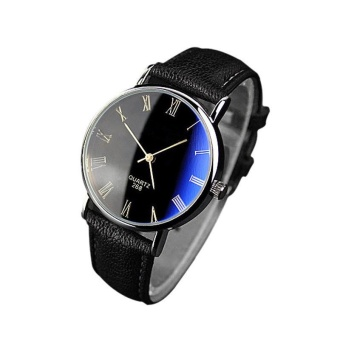 Luxury Fashion Faux Leather Mens Quartz Analog Watch Watches Black