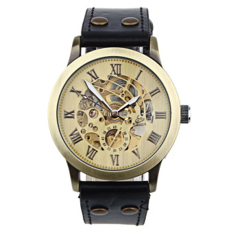Luxury Man Bronze Leather Self-Winding Automatic Mechanical WristWatch (Bronze)