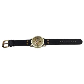 Luxury Man Bronze Leather Self-Winding Automatic Mechanical WristWatch (Bronze) - 3