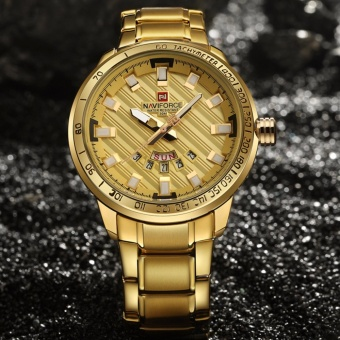 Luxury Top Brand NAVIFORCE Men's Wristwatch Quartz Gold Watch Steel Waterproof Fashion Casual Clock Man Sports Waterproof Wrist Watches - intl