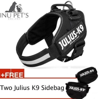 [M Size] INU Powerharness Julius-K9 IDC harness RenownedfortheComfort and Fit with two sidebag For Pet Dog (Black) - intl Price Philippines