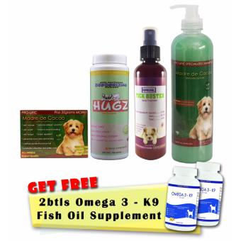 Madre de Cacao Soap, Madre de Cacao Powder, Madre de Cacao Shampoo, and Tick Buster Fipronil Spray Treatment with Free 2 Bottles of Pure Deep Sea Fish Oil Omega 3 Supplement 100 Soft Gels