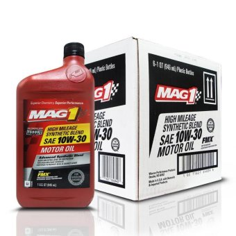 MAG 1 10W30 High Mileage API SN Synthetic Blend Oil for Gasoline Engines 1qt (946ml), 1 case of 6 qts PN#64839