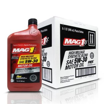 MAG 1 5W30 High Mileage API SN Synthetic Blend Oil for Gasoline Engines 1qt (946ml), 1 Case of 6 qts PN#64835