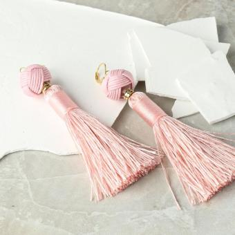 Magarbo by Kultura Ladies Cotton Tassel Earrings (Blush Pink)