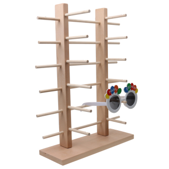 MagiDeal 2-Row 6-Layer Sunglasses Wooden Rack Frame Display Stand Holder - 4