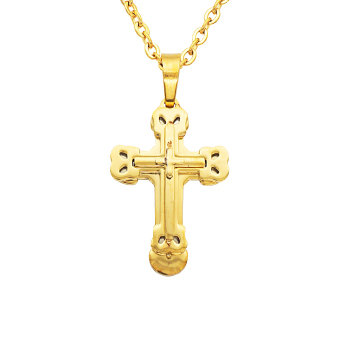 MagiDeal Gold Chain Necklace with Cross Pendant for Men Women - intl