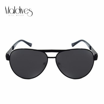 Maldives 2183-Y Tory Modern Men Fashion Aviator with Patterned Browbar Sunglasses (Black)