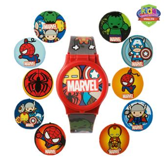 Marvel Avengers Kawaii Art Collection Mix and Match Boys Multicolor Plastic Strap Watch KAWAII RJ15-16