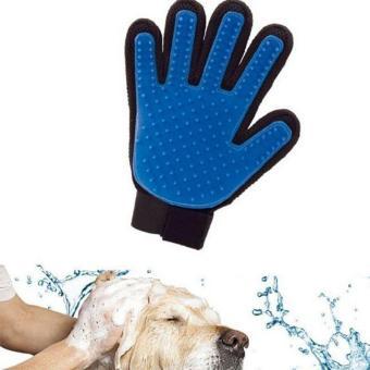 Massage Glove True Touch Deshedding Gentle Efficient Pet Grooming Dogs Cats Bath Blue - intl