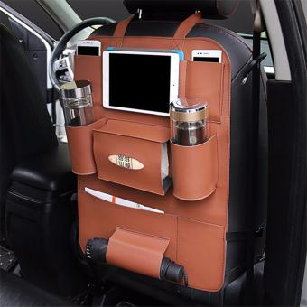 MC Back Seat Car Multi-Pocket Leather Storage Bag Organizer Holder (Brown)