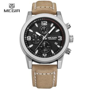 Megir Fashion Mens Chronograph Leather Strap Quartz Watches with Luminous Needles Casual Luxury Calendar Wristwatch for Man 2026 Price Philippines