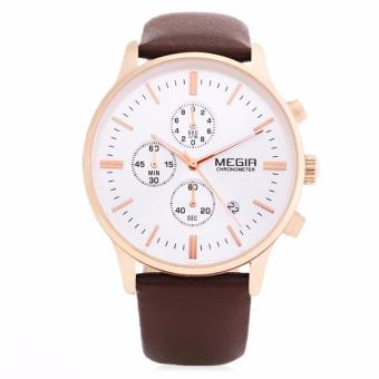 Megir Leather Strap Men's Watch SLMG2011GBN-2 (Brown)
