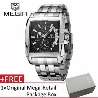 Megir Men Fashion Stainless Steel Strap Chronograph Luminous AnalogQuartz Watch with Calendar - intl
