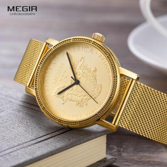 Megir Mens Fashion Gold Quartz Wrist Watches Round Dial Stainless Steel Strap Formal Dress Wristwatch for Man 2032 - 4