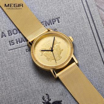 Megir Mens Fashion Gold Quartz Wrist Watches Round Dial Stainless Steel Strap Formal Dress Wristwatch for Man 2032 - 5