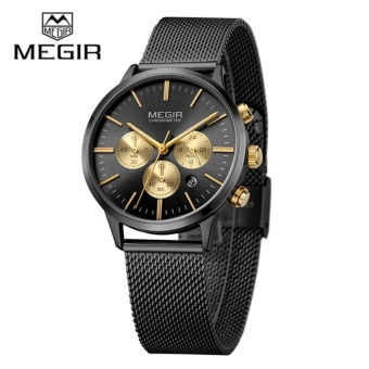 MEGIR MS2011L Women Watches Casual stainless steel Strap WaterproofChronograph Quartz Wrist Watch - intl