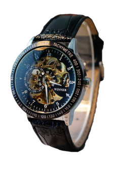 Men Hollow Skeleton Automatic Mechanical Stainless Steel Wrist Watch Black