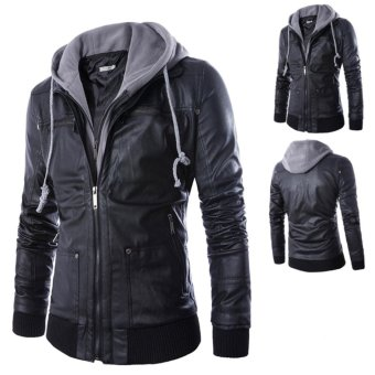 Men Hooded Slim Fake Two-pieces PU Leather Motorcycle Jackets - intl