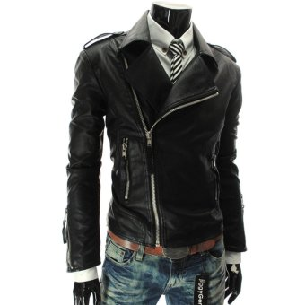 Men Multi Zippers Design PU Leather Motorcycle Bicycle Jackets Coats - intl