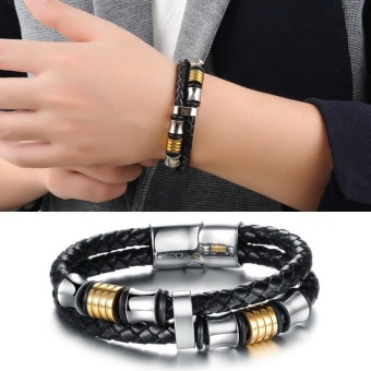 Men PU Leather Stainless Steel Bracelet Wristband Bangle withMagnetic Buckle - intl