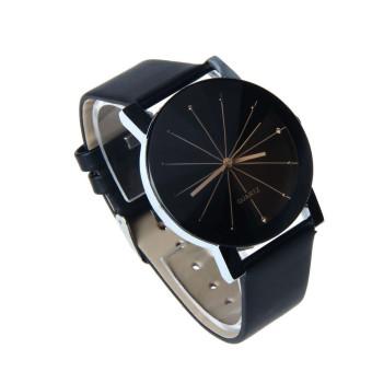 Men Quartz Dial Clock Leather Wrist Watch Black - picture 2