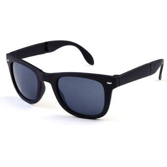 Men Women Folding Sunglasses Eyewear Sports UV Protection Sun Glasses Black Grey