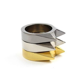 Men Women Stainless Steel Self-defense Product Single Clasp Ring Weapons Ring Cat Ears Shape Survival Ring Tool Po Gold - intl - 2