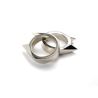 Men Women Stainless Steel Self-defense Product Single Clasp Ring Weapons Ring Cat Ears Shape Survival Ring Tool Po Silve - intl