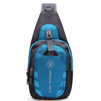 Men Women Waterproof Sport Chest Pouch Shoulder Crossbody Bag(Blue/Black) - 2
