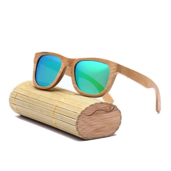 Men Women Wooden Frame Sunglasses Square UV Protection Sun Glasses with Box - intl