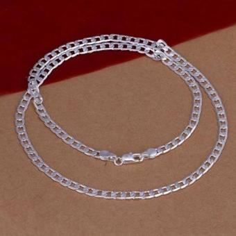 Men's 925 Sterling Silver Necklace Flat Sideways Chain Necklace 4mm 24inch - intl