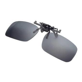 Men's Day Night Vision Clip-on Flip-up Lens Sunglass Practical Driving Glasses Grey(Size: S) - intl