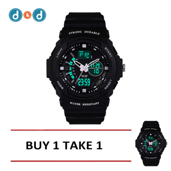 Men's LED Digital Outdoor Wristwatch Sports Electronic Watch(Black) BUY 1 TAKE 1
