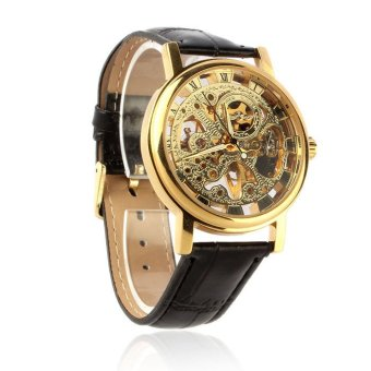 Men's Luxury Mechanical Skeleton Watch Leather Strap Wristwatch (Gold)