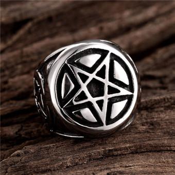 Men's Pentagram 316L Stainless Steel Ring Band Silver Black - 5