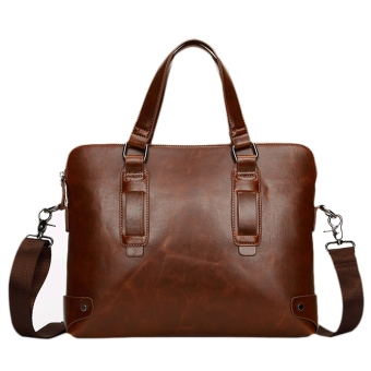 Men's PU Leather 14-Inch Laptop & Tablet Briefcase Shoulder Messenger Bag