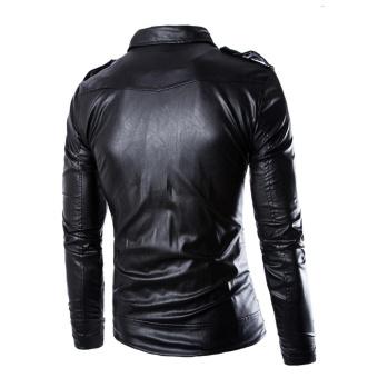 Men's PU Leather Jacket Black Blazer Zippers Long Sleeve Motorcycle Coat - intl - 2