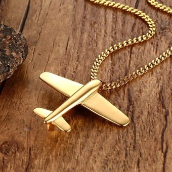 Men's Stainless Steel Pendant Necklace Gold-Color Aircraft Airplane with 24 Inch Chain - intl - 3